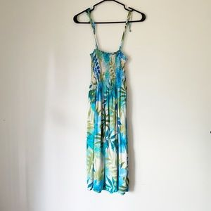 PUANANI MADE IN HAWAII BLUE AND GREEN FLORAL DRESS